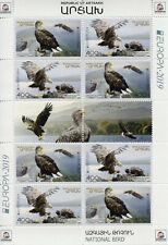 More details for karabakh republic of artsakh 2019 mnh birds europa eagles 8v m/s stamps