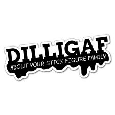 DILLIGAF Stick Figure Family Sticker Decal Funny Vinyl Car Bumper #5742J