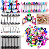 10pcs Tongue Navel Nipple Barbell Rings Bars Ball  Helix Body Jewelry Piercing