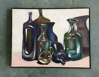 Oil Painting Still Life Bottles Signed Dated Jenna Canfield 1991 Listed Artist