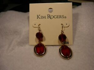 KIM ROGERS RED PIERCED DROP EARRINGS BEVELED TWO STONE W/GOLDTONE TRIM-NEW- $14