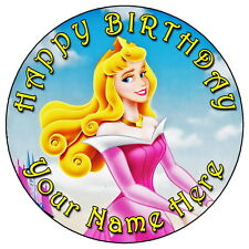 "SLEEPING BEAUTY AURORA PARTY - 7.5"" PERSONALISED ROUND EDIBLE ICING CAKE TOPPER"