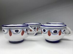 Set 4 Hand Crafted ,Hand Painted Italian Espresso Demitasse Cups Ceramic Pottery