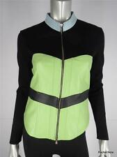 ONE GIRL WHO S Glove Soft Leather Color Block Knit Zip Moto Jacket Small