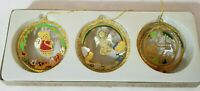 Set Of 3 Brass Classic Collection Christmas 🎄 Ornaments Enamel Original Box