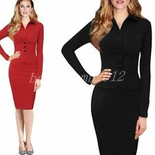 Women's Cotton Blend Long Sleeve Formal Stretch, Bodycon Dresses