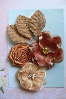 LATTE Rose All Fabric 3 Flower Mix 50-75mm across + 3 BURLAP Leaves Green Tara E