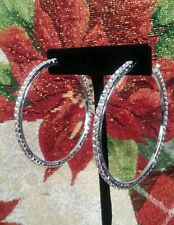 NW 1 PAIRS WOMENS SILVER PLATED CRYSTAL LARGE HOOP DANGLE EARRINGS 2 1/2 INCH