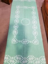 "Vintage Green Floral Tablecloth 50"" By 66"" Length"