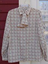 "JONES NEW YORK Beige/Pink Long Sleeve Button Tie Shirt Size 12 (41"") EUC"