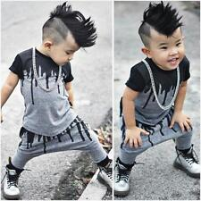 US 2PCS Toddler Baby Boys T-Shirt Tops + Pants Set Newborn Clothes Outfits 80