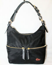DOONEY & BOURKE Black Nylon & Leather Pocket Shoulder Bag Hobo Gold Hdwr