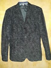 Asos Men's Skinny Fit Dress Jacket Black Floral 3-Button Front Pockets Sz 36R