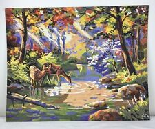 16x20 Paint by Number Painting 2 Deer Drinking in Autumn Forest Stream Signed