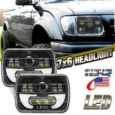 "2PC 5x7"" 7x6"" LED Headlights Hi-Lo Beam DRL Angel Eye For Nissan Pickup Hardbody"