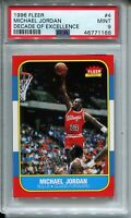 1986 Fleer Basketball Michael Jordan Rookie Card PSA MINT 9 Replicate '96 Decade