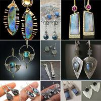 Women Vintage 925 Silver Turquoise Drop Earring Jewelry Hook Stud Dangle BOHO