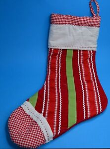 """Pottery Barn Kids Large Christmas Stocking 23"""" Quilted Red Green Striped PBK"""