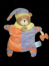 Doudou Marionnette Ours orange parme Tomi adore les bonbons Babynat' Baby Nat'