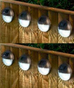 8x Solar Powered LED Garden Fence Lights Wall Patio Door Decking Outdoor Xmas UK