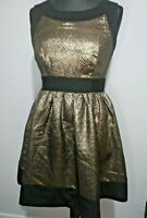 Darling Black & Gold Sakter Girl Dress Size Medium Snake print Pockets New Party