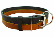 """Genuine Leather Tri-Color Dog Collar Fits 20""""-25"""" Neck, XLarge Dogs"""