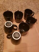 VTG Corning Corelle (Set of 7) Stoneware Jet Black 12 oz Coffee Tea Mug Cup