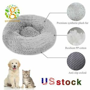 "16-47"" Donut Plush Pet Dog Cat Bed Fluffy Soft Warm Calming Bed Sleeping Kennel"