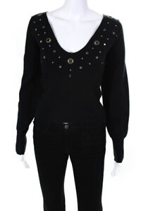 Wildfox Womens V-Neck Studded Sweater Black Blue Size Extra Small