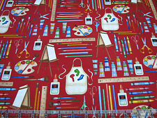 3 Yards Quilt Cotton Fabric- RJR Making the Grade Back to School Art Supplies Rd