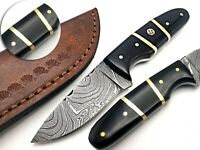 LOUIS SALVATION HANDMADE DAMASCUS HUNTING DAGGER KNIFE WITH BULL HORN HANDLE