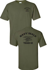 Navy Seals Team 10 Seal Logo Printed Front and Back Military Men's Tee Shirt 726