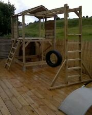 Wooden climbing frame, fort, adventure, monkey bars, tyre swing, childrens