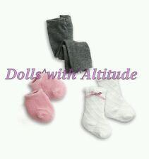 NEW American Girl Sweet Socks Tights Leggings Set LOT FOR DOLLS Pink White Gray