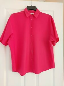 Ladies Vintage Fabrice London 80s/90s Blouse Bright Pink Size 18 Short Sleeves
