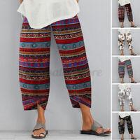 US STOCK Women's Linen Cotton Floral Wide Legs Harem Pants Lounge Chino Trousers