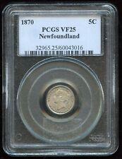 1870 Newfoundland Five Cents - PCGS VF25