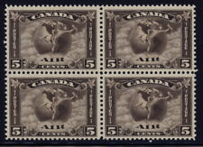 Canada C2 block of 4 - mnh 5 cents air mail stamps