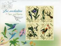 Gabon 2018 MNH Orchids & Hummingbirds 4v M/S Hummingbird Flowers Birds on Stamps
