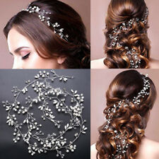 Elegant Bridal Wedding Rhinestone Flower Pearl Hair Band Clip Headband Jewelry