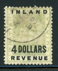 BRITISH GUIANA Used Selections: Scott #127A $4 INLAND REVENUE II (1889) CV$3000+