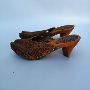Bridget Shuster Studded Cheetah Print Wooden Sandals sz 6-1/2