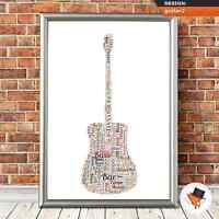 PERSONALISED GUITAR WORD ART - BIRTHDAY OR CHRISTMAS GIFT FOR HIM HER