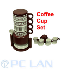 Brown Design Coffee Tea Plastic 4 Cups Set + 4 Tea Spoons + 4 Cup Plates