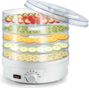 5 Trays Food Vegetable Dehydrator Adjustable Thermostat Fruit Beef Jerky Machine