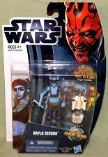 "Star Wars Clone Wars AAYLA SECURA CW14 Jedi Knight 3.75"" Action Figure CARD WEAR"