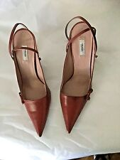 NEW Authentic PRADA Leather Slingbacks w/ Bow and Ankle Strap - 36.5
