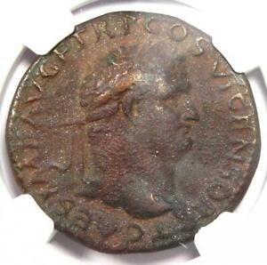 Ancient Roman Titus AE As Copper Coin 79-81 AD - NGC Choice VF (Very Fine)