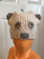 08802e3c754 River Island Beige Grey Bear Wool Blend Beanie Winter Hat New Without Tags