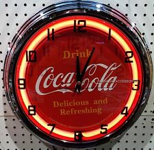 "17"" Drink Coca-Cola Delicious and Refreshing Coke Sign Neon Clock"